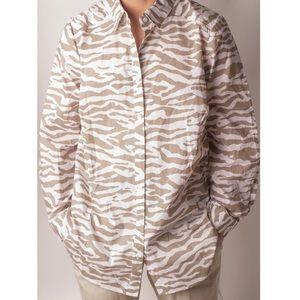 """VTG """"Ramona's"""" Cotton Neutral Zebra Print Shirt"""